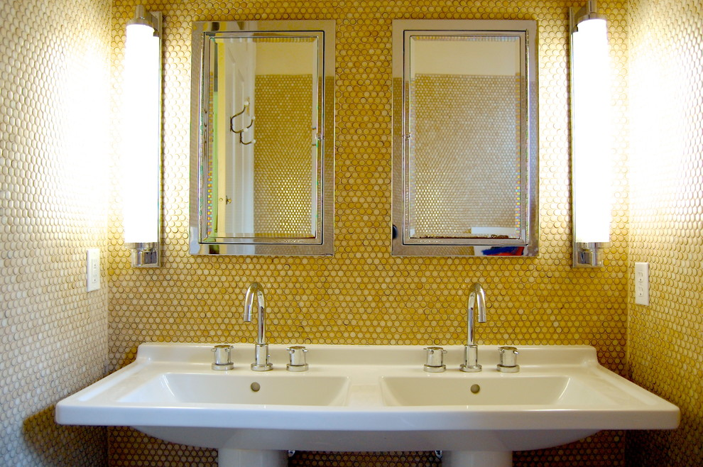 Inspiration for a transitional yellow tile bathroom remodel in New York with a pedestal sink and yellow walls