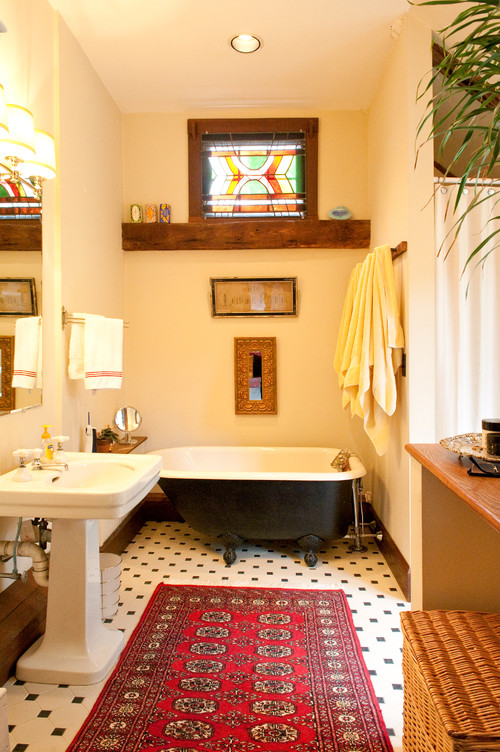 Ditch The Traditional Bath Rug In Favor Of Something More Decorative
