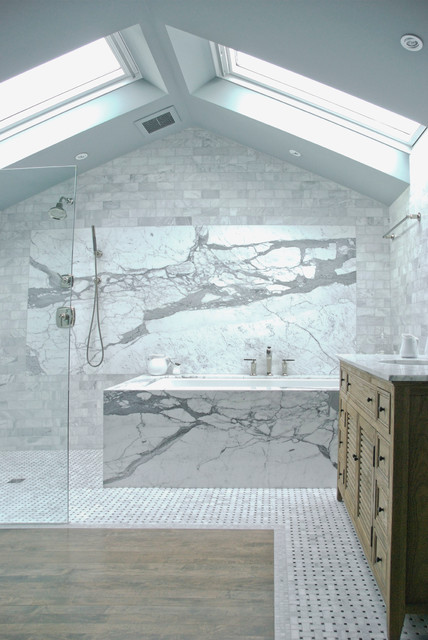 Transitional Bathroom by Heather Merenda