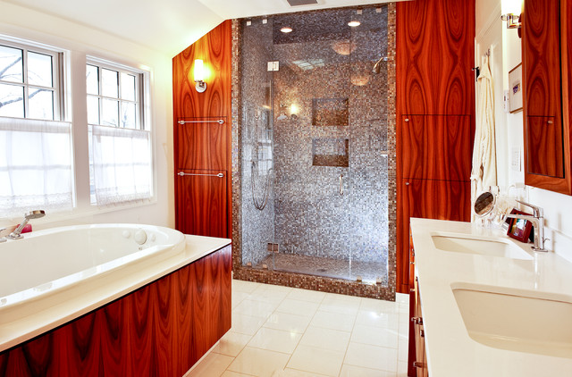 Inspiration for a timeless stone tile bathroom remodel in Boston