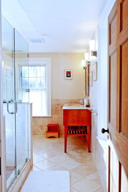 Historic Antique Federal-Style Becomes Bright and Roomy with R traditional-bathroom