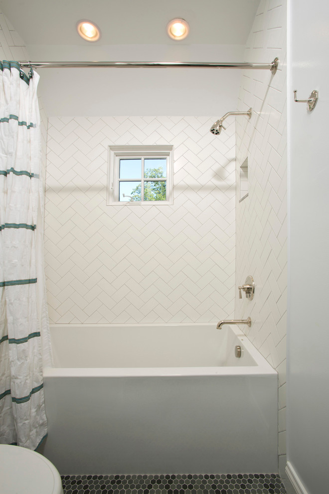 Inspiration for a timeless white tile and subway tile mosaic tile floor bathroom remodel in DC Metro with white walls