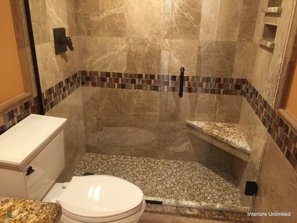 Inspiration for a small timeless master brown tile and porcelain tile mosaic tile floor alcove shower remodel in Miami with a two-piece toilet, orange walls and granite countertops