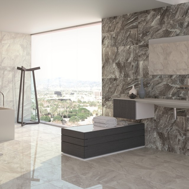 Bon Nairobi Large Wall Tiles   Grey Tiles   £14.85 Per Sq M Contemporary  Bathroom