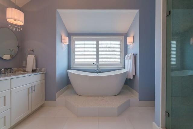 Nantucket home beach style bathroom by island for Nantucket style bathrooms