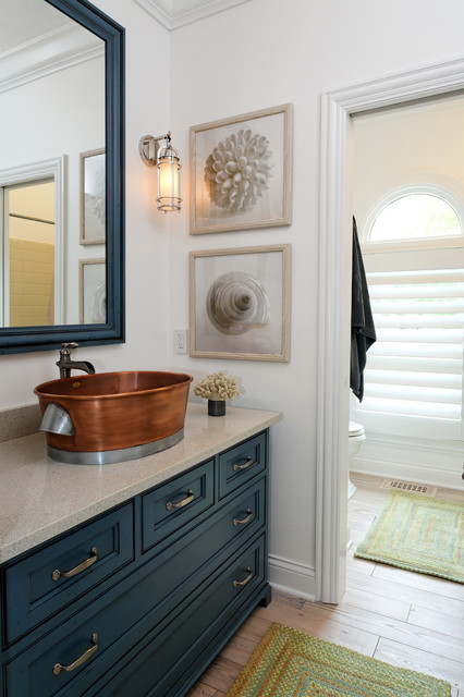 Nantucket inspired remodel and furnish for Bathroom remodel indianapolis