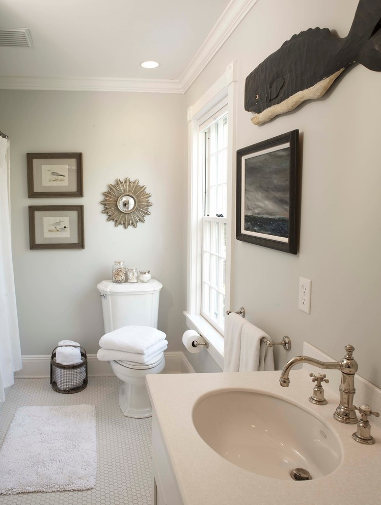 Inspiration for a timeless mosaic tile bathroom remodel in Boston