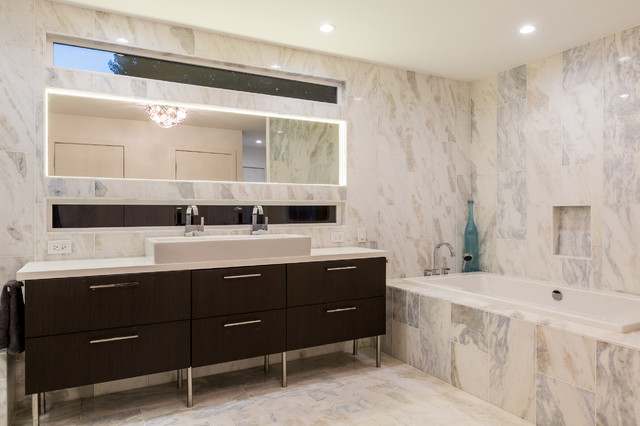 Example of a large trendy master bathroom design in San Francisco with dark wood cabinets