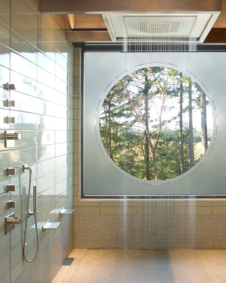 Inspiration for a large contemporary master bathroom in San Francisco with an open shower, beige tile, ceramic tile, green walls, mosaic tile floors and an open shower.