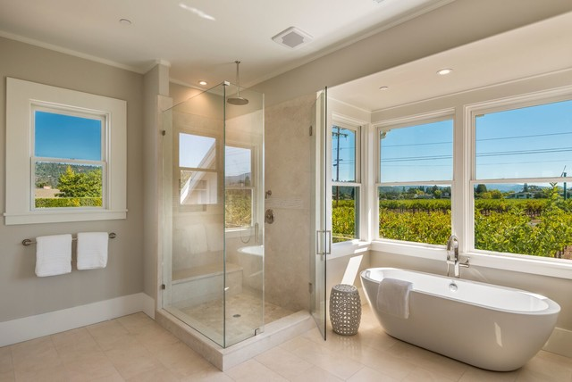 Napa valley vineyard farmhouse transitional bathroom for Bath remodel napa ca