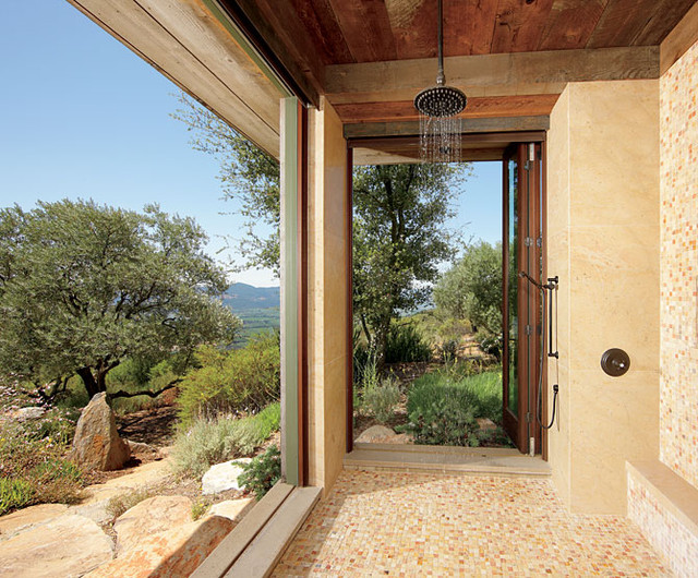Enhance An Open Air Shower With Amenities And Style