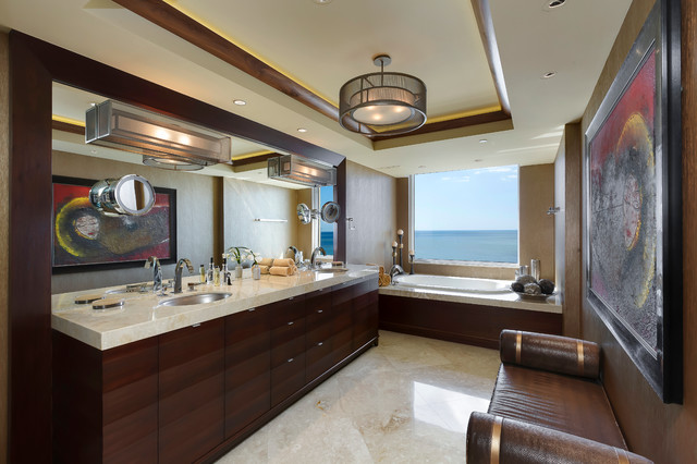 Bathroom - large contemporary master brown tile, multicolored tile and stone slab travertine floor and beige floor bathroom idea in Miami with an undermount sink, furniture-like cabinets, dark wood cabinets, brown walls and marble countertops