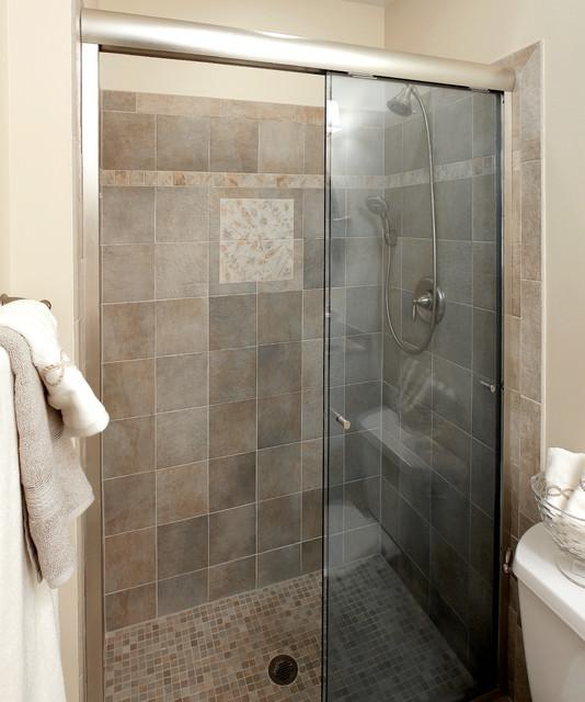 Narrow bathroom remodel transitional bathroom for Bath remodel baltimore