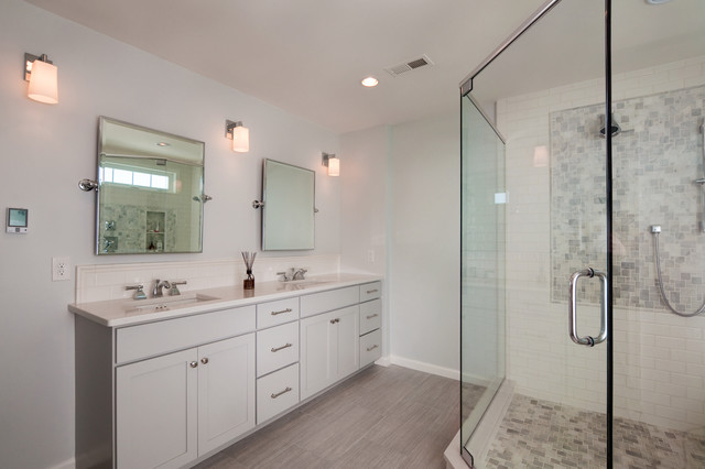 example of a mid sized transitional master gray tile and subway tile double shower design - Shallow Bathroom Vanity