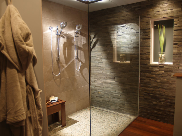 Natural Modern Bath with Split Stone - Contemporary - Bathroom ...