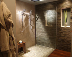 Natural Modern Bath with Split Stone contemporary bathroom