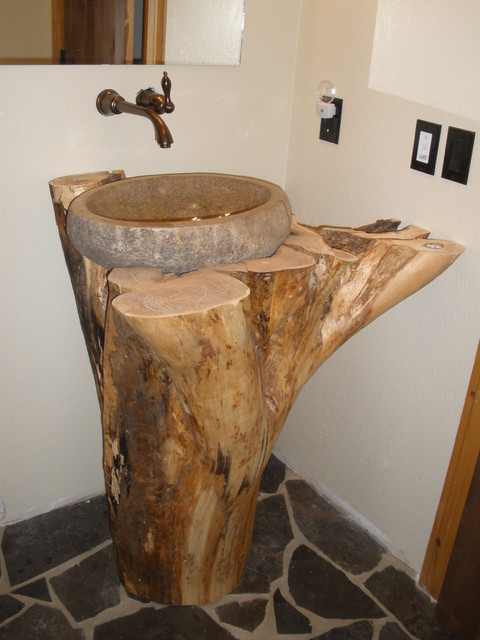 Natural River Rock Boulder Sink Eclectic Bathroom Other By Eden Bath Vessel Sinks