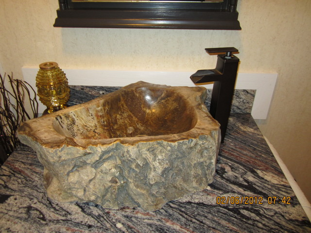 Natural Stone Sink   Petrified Wood Eclectic Bathroom