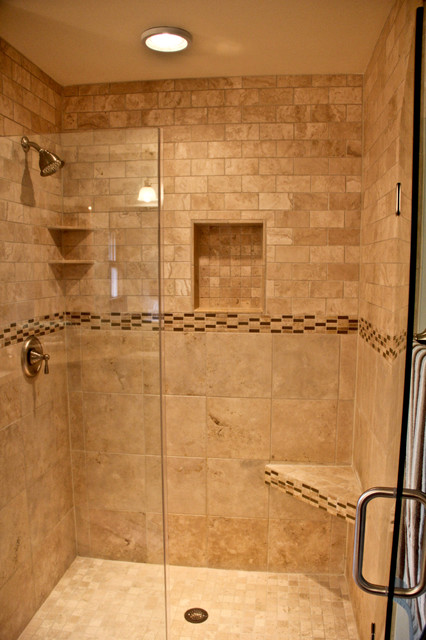 Natural Stone Walk In Shower Traditional Bathroom Other Metro