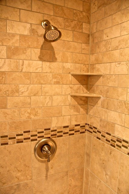 Natural Stone Walk In Shower Traditional Bathroom