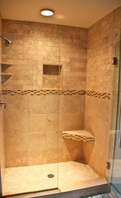 Natural stone walk in shower traditional bathroom for Houzz bathroom design guide