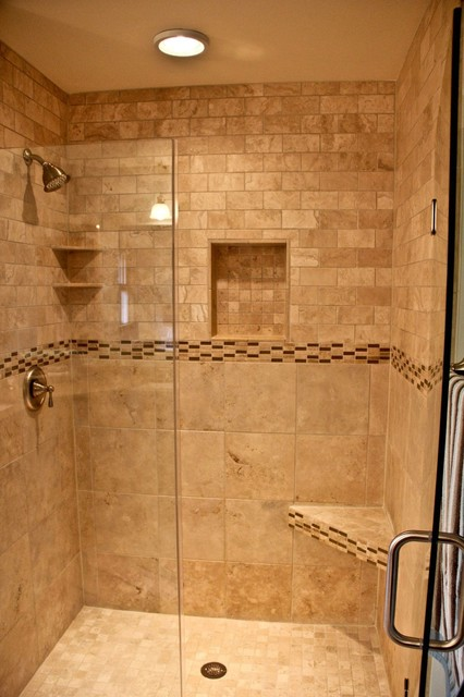 Natural Stone Walk In Shower Traditional Bathroom Other Metro By Kowalske Kitchen Bath
