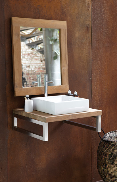 Line Art Vanity : Nature by line art contemporary sink and teak countertop