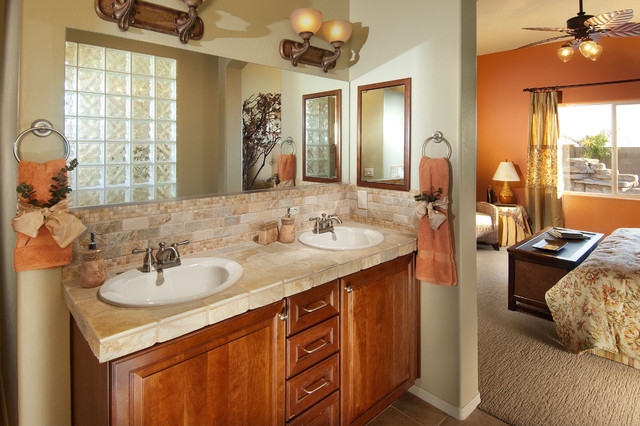 Nature themed model home eclectic bathroom other for Model bathrooms pictures