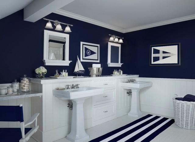 Nautical Navy Traditional Bathroom