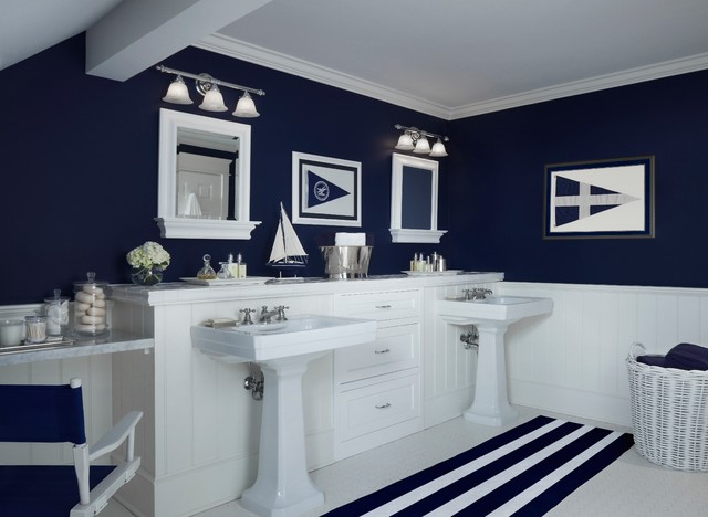 Nautical navy Navy blue and white bathroom