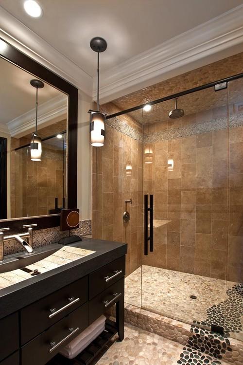 Tan Amp Black Pebble Tile Shower And Bathroom Flooring