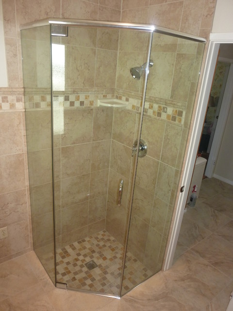 neo angle frameless header traditional bathroom san luis obispo by c s shower door inc