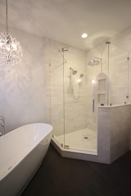 neo angle showers  modern  bathroom  raleigh mia