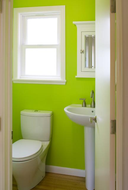Neon green powder room with pedestal sink contemporary-bathroom