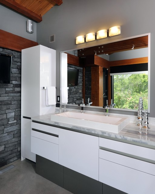 Example Of A Trendy Gray Tile And Stone Bathroom Design In Ottawa With Trough