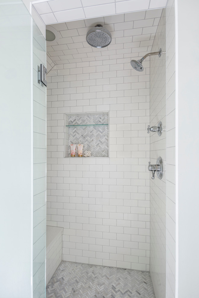 Bathroom - large traditional master white tile and stone tile marble floor bathroom idea in Minneapolis with recessed-panel cabinets, white cabinets, quartz countertops, gray walls and a console sink