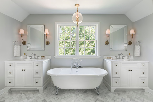 Large Traditional Master Stone Tile And White Tile Marble Floor Bathroom  Idea In Minneapolis With Recessed