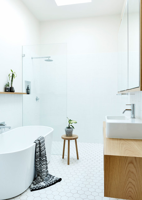 Example of a trendy bathroom design in Sydney with white walls