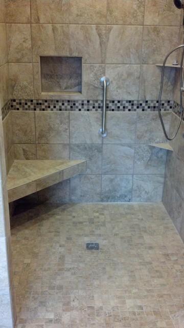 Neutral color diamond design tile work traditional bathroom  Neutral color  diamond design tile work Traditional. Speakers In Bathroom