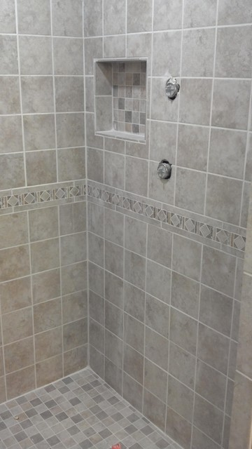 Model Bathroom Tile Shower Neutral Home Design Pinterest