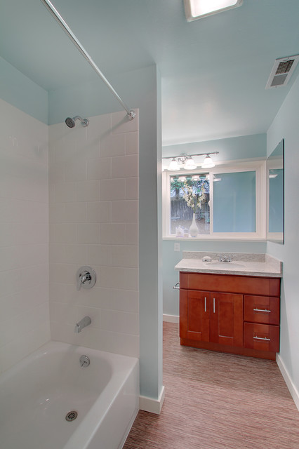 New Aqua Wall Color Modern Bathroom Seattle By
