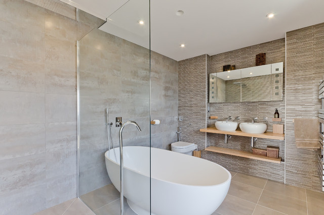 tile bathroom ideas. Mid sized scandinavian master bathroom idea in London with a vessel sink  wood countertops Pictures Of Tiled Bathrooms Houzz
