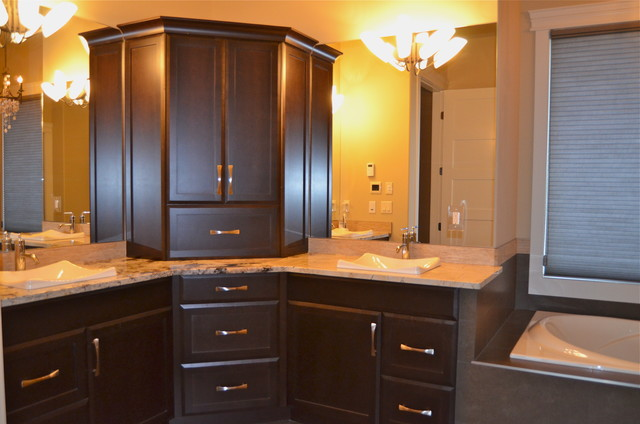 New Custom Maple Cabinets Dark Stain Traditional Bathroom