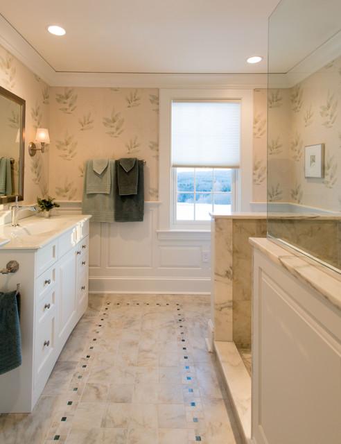 New england colonial traditional bathroom boston for New england style bathroom ideas