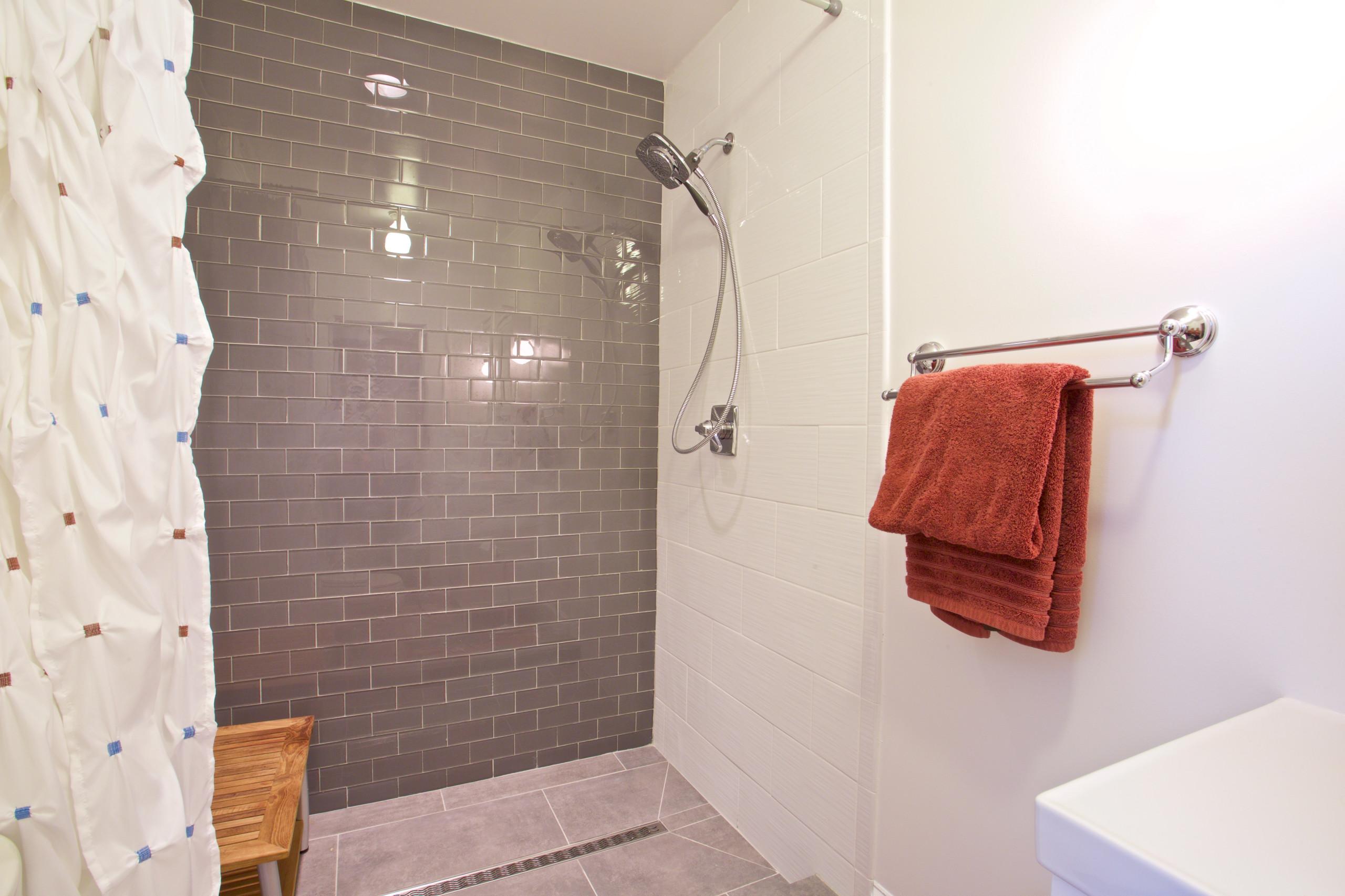 New Master Shower Grey Subway Tile