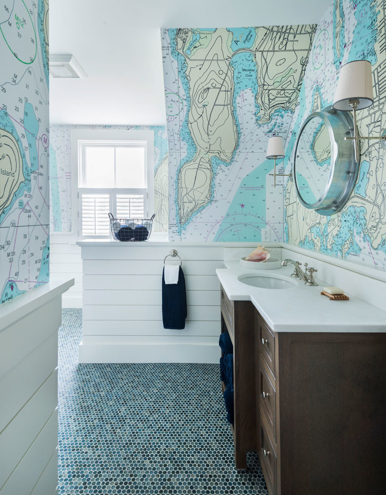 Inspiration for a coastal mosaic tile floor and green floor bathroom remodel in Providence with dark wood cabinets, multicolored walls and an undermount sink