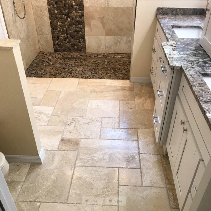 New Tampa | Contemporary Travertine | Master Bathroom Design & Remodel