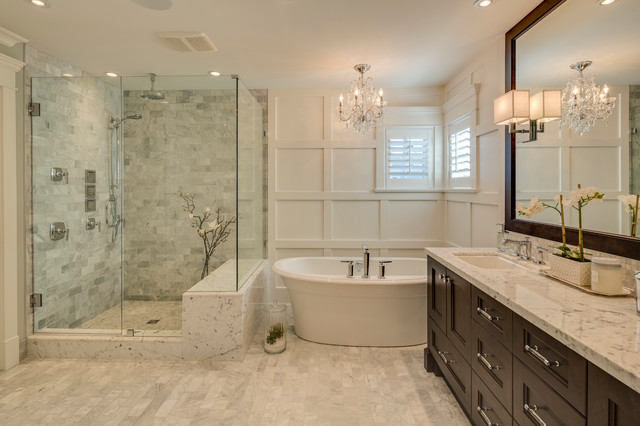Inspiration For A Mid Sized Timeless Master Gray Tile And Ceramic Tile  Porcelain Floor Bathroom