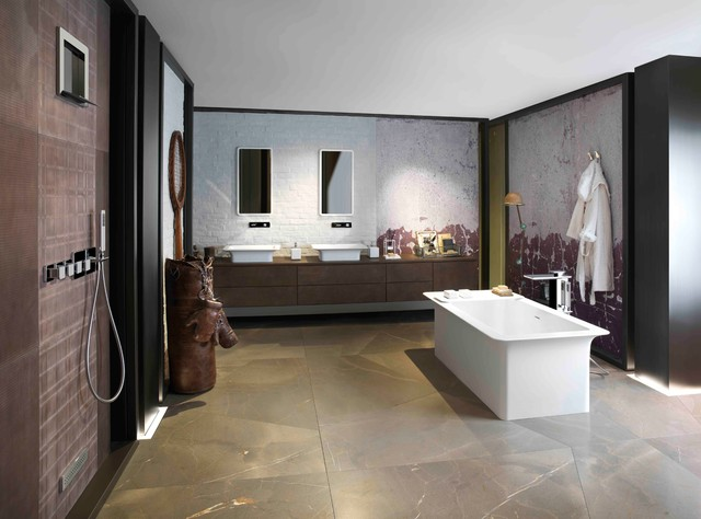 New york loft bath industrial bathroom other metro for Loft bathroom ideas design
