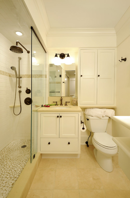Storage solutions for small bathrooms the caldwell project for Small bathroom design houzz
